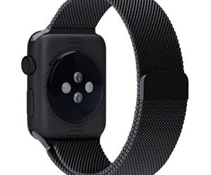 Been5le Milanese Loop Stainless Steel Replacement iWatch Band with Magnetic Closure Clasp for Apple Watch Sport&Edition-42MM Black