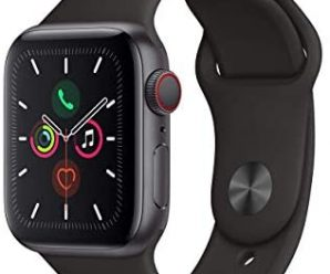Apple Watch Series 5 (GPS + Cellular, 40MM) – Space Gray Aluminum Case with Black Sport Band (Renewed)