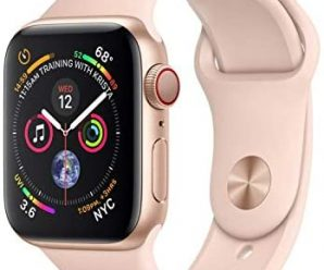 Apple Watch Series 4 (GPS + Cellular, 44MM) – Gold Aluminum Case with Pink Sand Sport Band (Renewed)