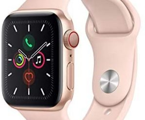 Apple Watch Series 5 (GPS + Cellular, 40MM) – Gold Aluminum Case with Pink Sand Sport Band (Renewed)