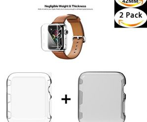 Apple Watch 1 Case , Sfmn 2- Pack iwatch 1 42mm Case Ultra-Slim Cystal Clear Full Coverage All-around PC Hard Cover Case for Apple Watch Series 1 42MM (Clear+Gray)( 2Pack-42MM)