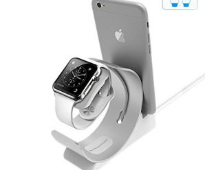 Apple Watch Stand, Charging Dock Station iPhone iWatch 2in1, Aluminum Bracket Dock Holder Station Stock, USB Docking Station Cradle Platform Desktop Phone Stand 38mm 42mm iPhone 7 6 Plus Compatible