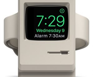 elago W3 Stand [Original] [White] – [Vintage Apple Monitor][Supports Nightstand Mode][Cable Management] – for Apple Watch Series 1 and 2