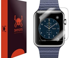 Skinomi® TechSkin [6 Pack] – Apple Watch 42mm Screen Protector [Full Screen Coverage + WaterProof] Premium HD Clear Film with Free Lifetime Replacement Warranty / Ultra High Definition Invisible and Anti-Bubble Crystal Shield – Retail Packaging