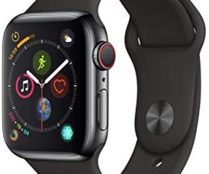 AppleWatch Series4 (GPS+Cellular, 40mm) – Space Black Stainless Steel Case with Black Sport Band