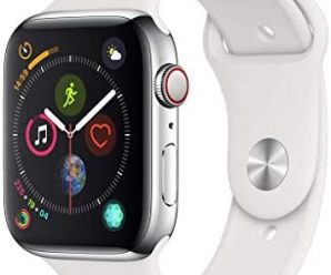 AppleWatch Series4 (GPS+Cellular, 44mm) – Stainless Steel Case with White Sport Band