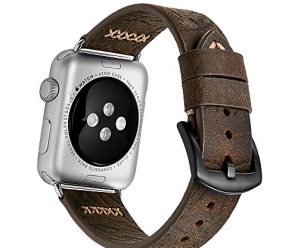 Apple Watch Band 42mm iWatch Band , Genuine Cowhide Leather Apple Strap, Premium Vintage Replacement Watchband Classical Durable with Steel Clasp Buckle Fits for All Apple watch Model Series
